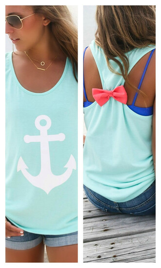 tank top mint tank top anchor bow bow back shirt amazinglace