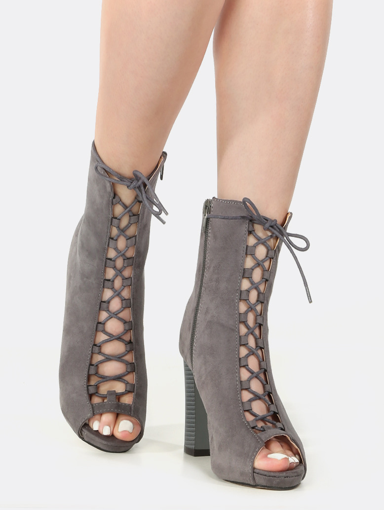 Toe Lace Up Chunky Heel Booties GREY | MakeMeChic.COM
