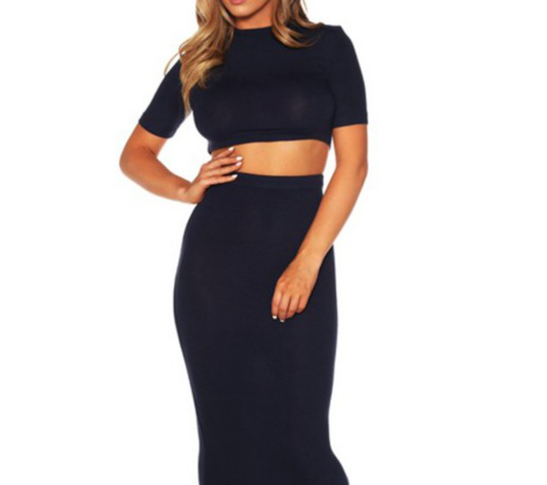 crop tops bodycon skirt two-piece
