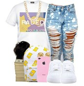 shirt,cute top,cute,gold chain necklace,ripped jeans,acid wash jeans,the simpsons,bart simpson,backpack,dope,pink,yellow,faded,bag,jeans,jewels,t-shirt,graphic tee,baddies,outfit