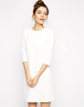 Asos shift dress in waffle texture with 3/4 sleeves at asos