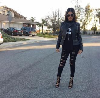 pants nishasonali black x white cali $$$$ leather jacket ripped black pants high heels sunglasses ;)
