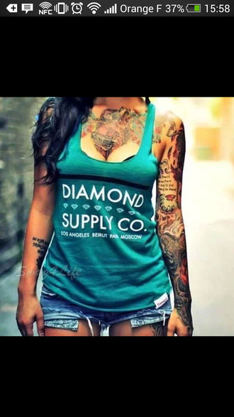 shorts diamond bleu turquoise short summer debardeur