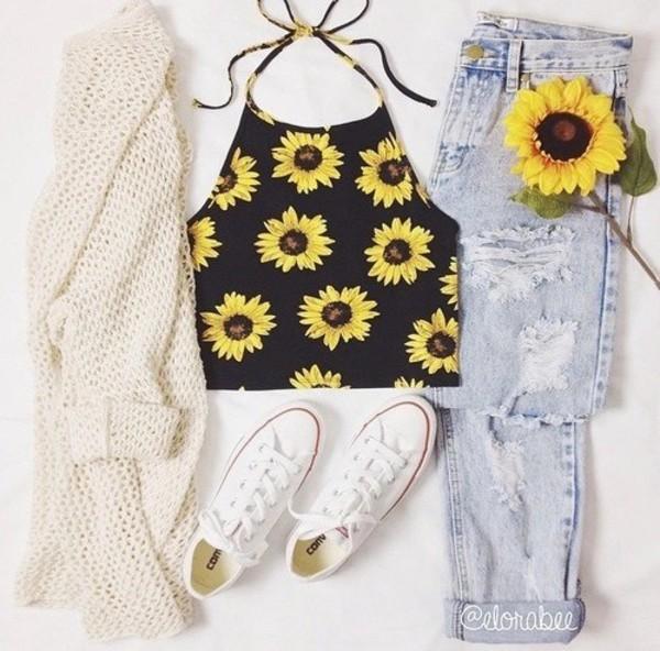 Shirt Sleeveless Sunflower Sunflower Shirt 90s Style