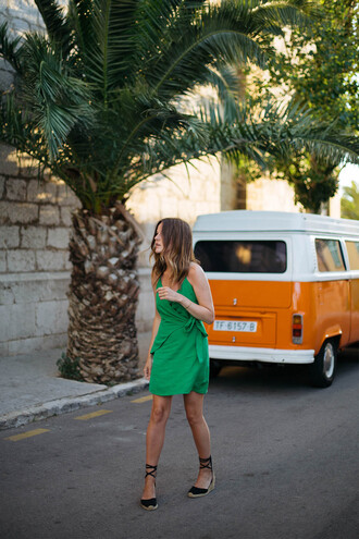 dress green dress tumblr wrap dress mini dress sandals wedges wedge sandals slip dress shoes
