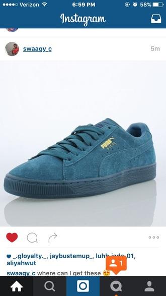 shoes teal blue puma suede shoes