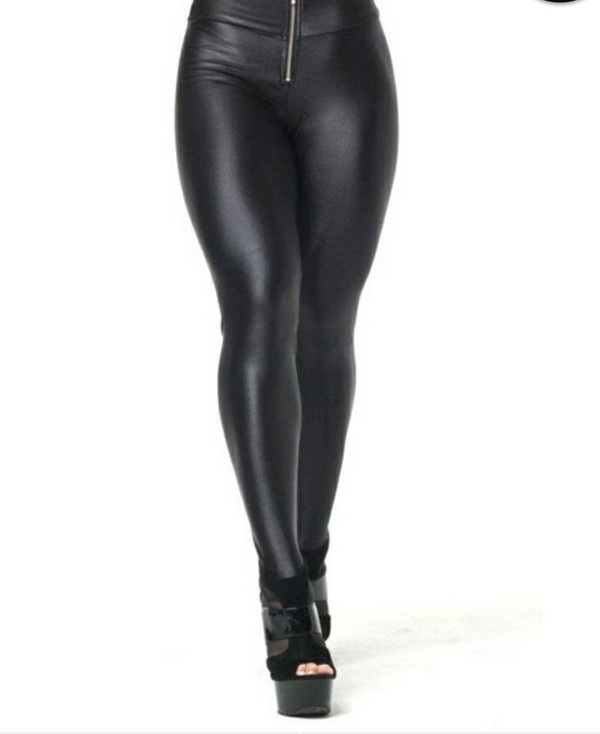 Women Shiny Black Solid Color High Waist Nylon Span Leggings Pants ...