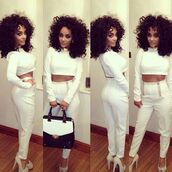 pants,white,outfit,poppin,blouse,dress,two-piece,chelseehealey,where can i buy it from,white trousers,high waisted pants,shortened,long sleeves,jumpsuit,white two piece set