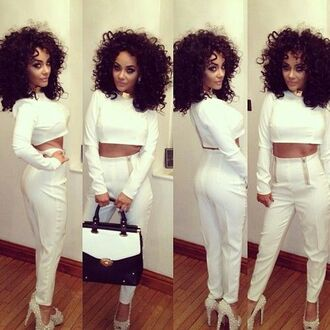 pants white outfit poppin blouse dress two-piece chelseehealey where can i buy it from white trousers high waisted pants shortened long sleeves jumpsuit white two piece set