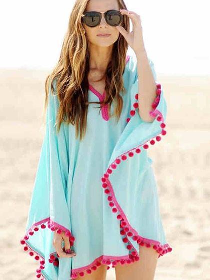 Blue Oversize Pom Pom Chiffon Poncho Cover Up Dress