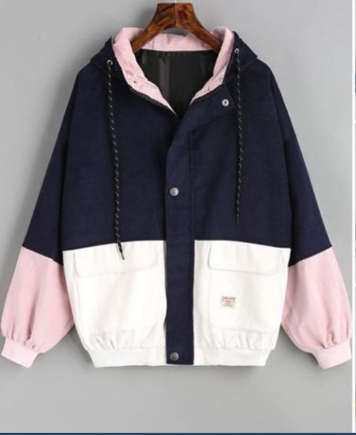 coat navy rose windbreaker