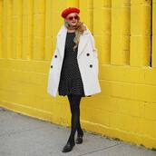 coat,flats,tumblr,white coat,oversized,oversized coat,dress,mini dress,tights,opaque tights,shoes,beret,french girl style,sunglasses,red sunglasses