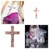 sweater,cross,flowers,pink,pink flowers,print,white,t-shirt,tank top,let's smoke,studs,purple