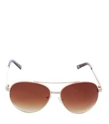 Limited Gold Diamante Pilot Sunglasses