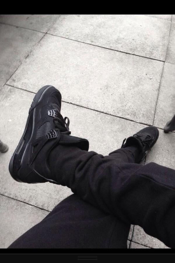 shoes black jordans air jordan air jordan 4 sneakers air jordan retro jordans all black everything