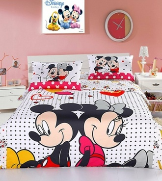 bedding kids fashion mickey mouse minnie mouse polka dots
