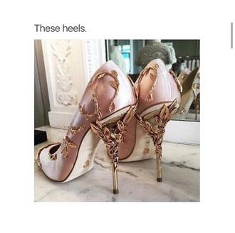 pink heels gold gold shoes high heels baroque heels pink shoes