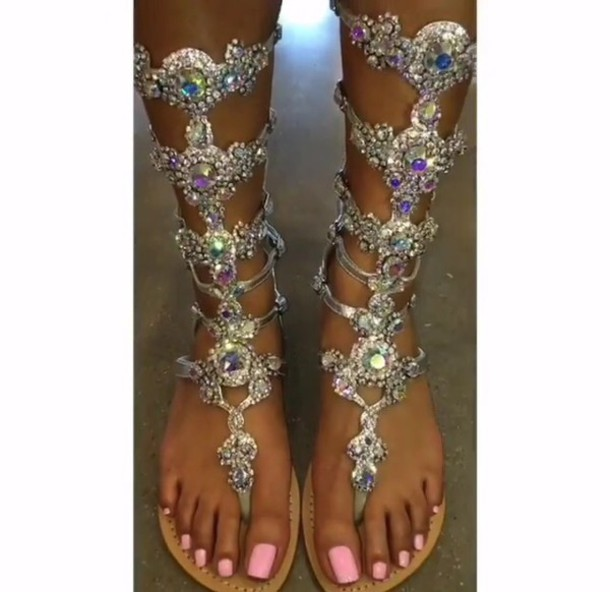 shoes swarovski sandals gladiators rhinestones