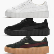 shoes,creepers,black creepers,rihanna creepers,rihanna pumas,puma sneakers,puma,low top sneakers,white sneakers,white creepers,suede sneakers