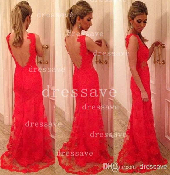 Cheap Prom Dresses - Discount Neck Mermaid Lace Evening Dresses Backless Floor Length Online with $128.92/Piece | DHgate