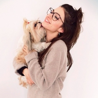 glasses ursula corberó❤️ puppy hair sweater knitted sweater earrings cross earring cross nude beige nerd glasses brown round frame glasses winter outfits fall outfits fall colors