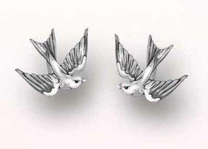 """Style """"swallow"""" stud earrings: bird earrings: jewelry"""