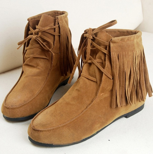 Black Brown Fringes Suede Lace Up Ankle Flat Boots Shoes