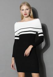 dress,contrast shawl collar knit dress,chicwish,knit