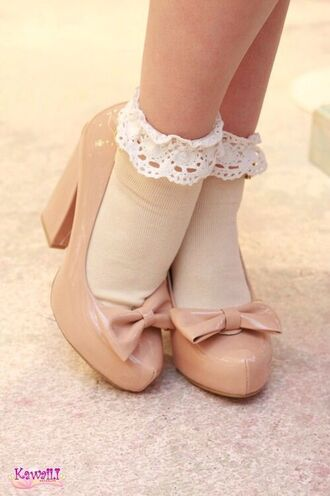 shoes socks frilly frilly socks pumps bow heels bow white beige beige shoes romantic girly
