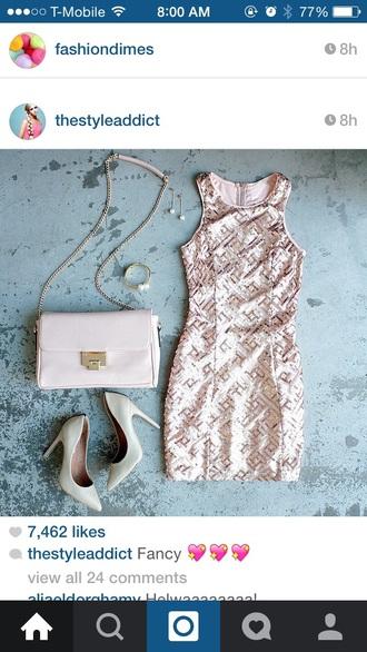 dress beige dress gold sequins high heels style jewels