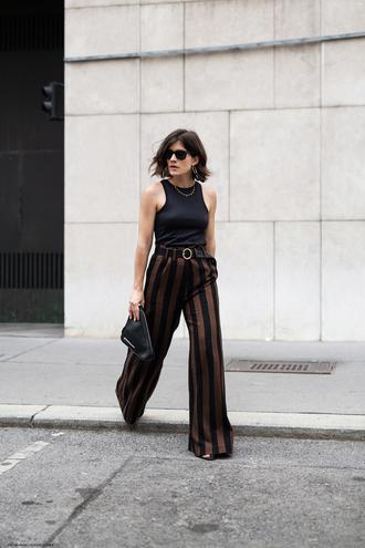 viennawedekind blogger pants tank top belt jewels shoes bag black top clutch striped pants summer outfits