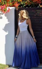 skirt,maxi skirt,tie dye,blue,ombre skirt,ombre,maxi,ombre maxi skirt,chiffon skirt,pleated skirt,two toned,blue and white skirt,dress,blue skirt,ombre blue skirt