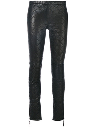 women quilted black pants