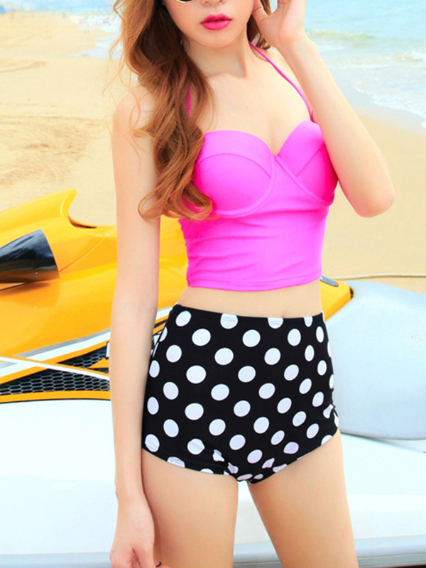 High Waisted Ruffles Sweetheart Fashion Polka Dot Halter Top Tankini : KissChic.com