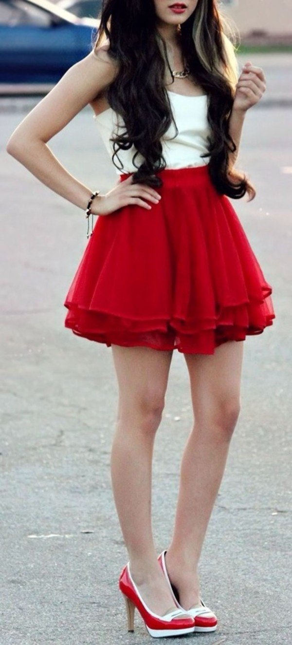 dress red dress tulle skirt skirt shoes