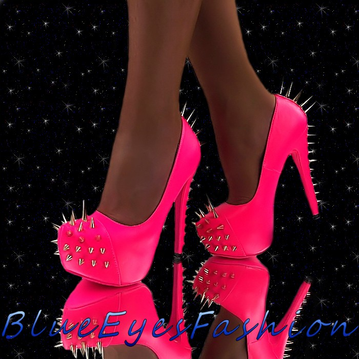 High Heels Neon Pink Pumps Killernieten Stachel Plateau Sexy ...