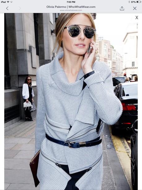 olivia palermo knitwear grey