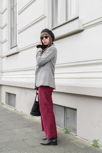 pants tumblr pink pants corduroy boots black boots blazer grey blazer beret sunglasses bag black bag
