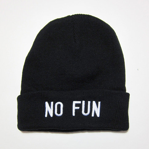 """No Fun"" beanie from No Fun Press on Wanelo"