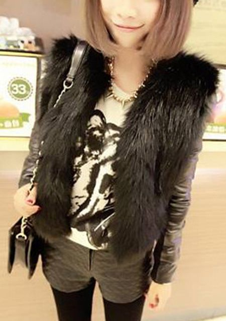 Women's sleeveless solid color slim fit short fur cardigan vest online