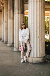 bag,pink bag,pants,sneakers,top,sunglasses