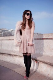 elodie in paris,blogger,sunglasses,tights,baby pink,knitted dress,pink dress,fluffy,knitted mini dress,over the knee,black sunglasses,fur jacket,mini knit dress