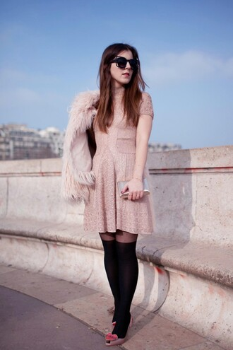 elodie in paris blogger sunglasses tights baby pink knitted dress pink dress fluffy