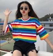 t-shirt,rainbow,tucked in,tumblr shirt,aesthetic,korean fashion