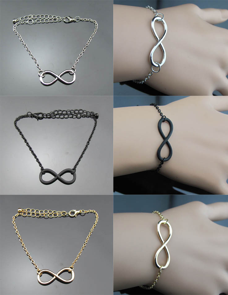 Infinity gold silver black chain necklace bracelet ring fashion jewelry gift 1d