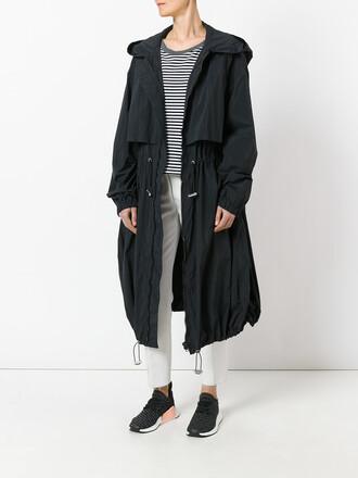 parka women midi black coat