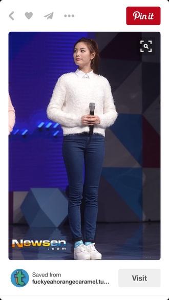 sweater after school nana nana orange caramel after school im jin ah korean style korean fashion kpop kdrama style jeans sneakers