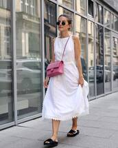 shoes,black slides,dress,white dress,sunglasses,midi dress