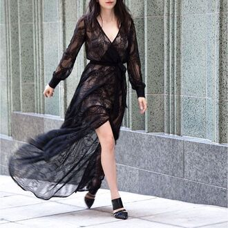 dress nastygal lace maxi dress black dress slit holidays party dress going out dress style fashion
