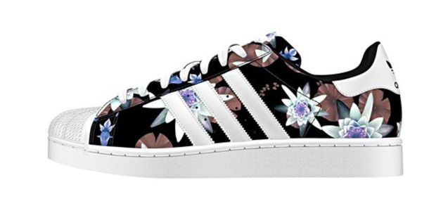 shoes superstar adidas black floral white stripes adidas superstars sneakers